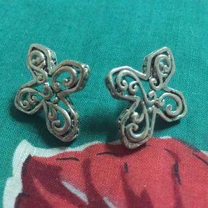 Silver Tone Cross Pierced Earrings